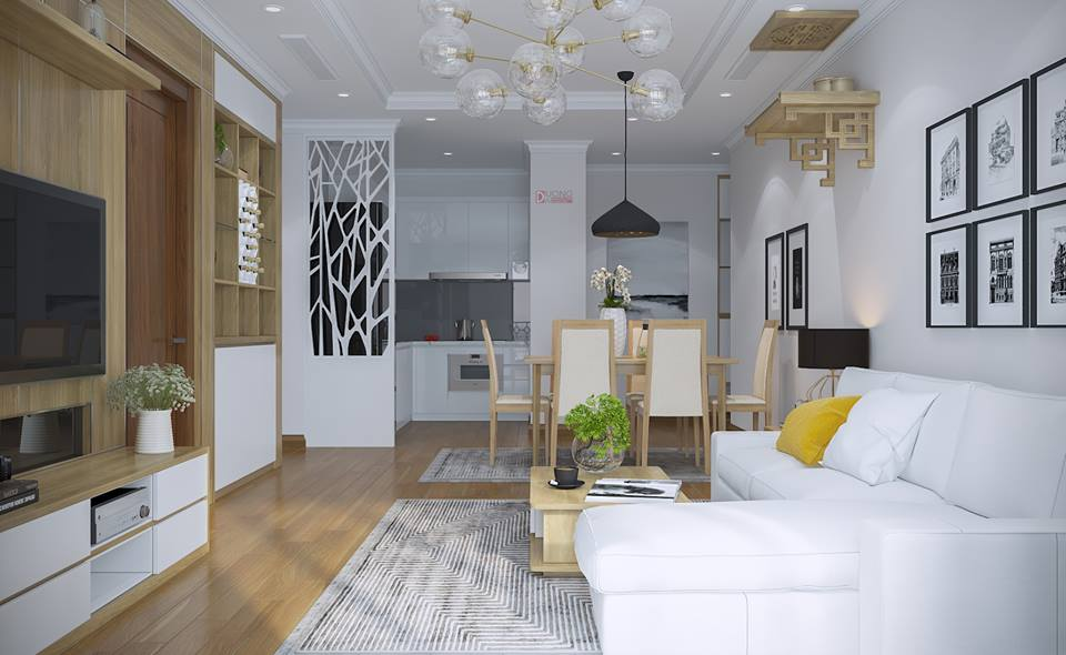 Thiết kế nội thất chung cư Gold Mark City nhà chị Lan