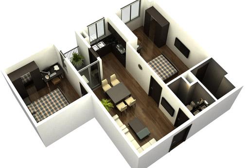 Tư vấn thiết kế thi công nội thất chung cư 70m2 đẹp