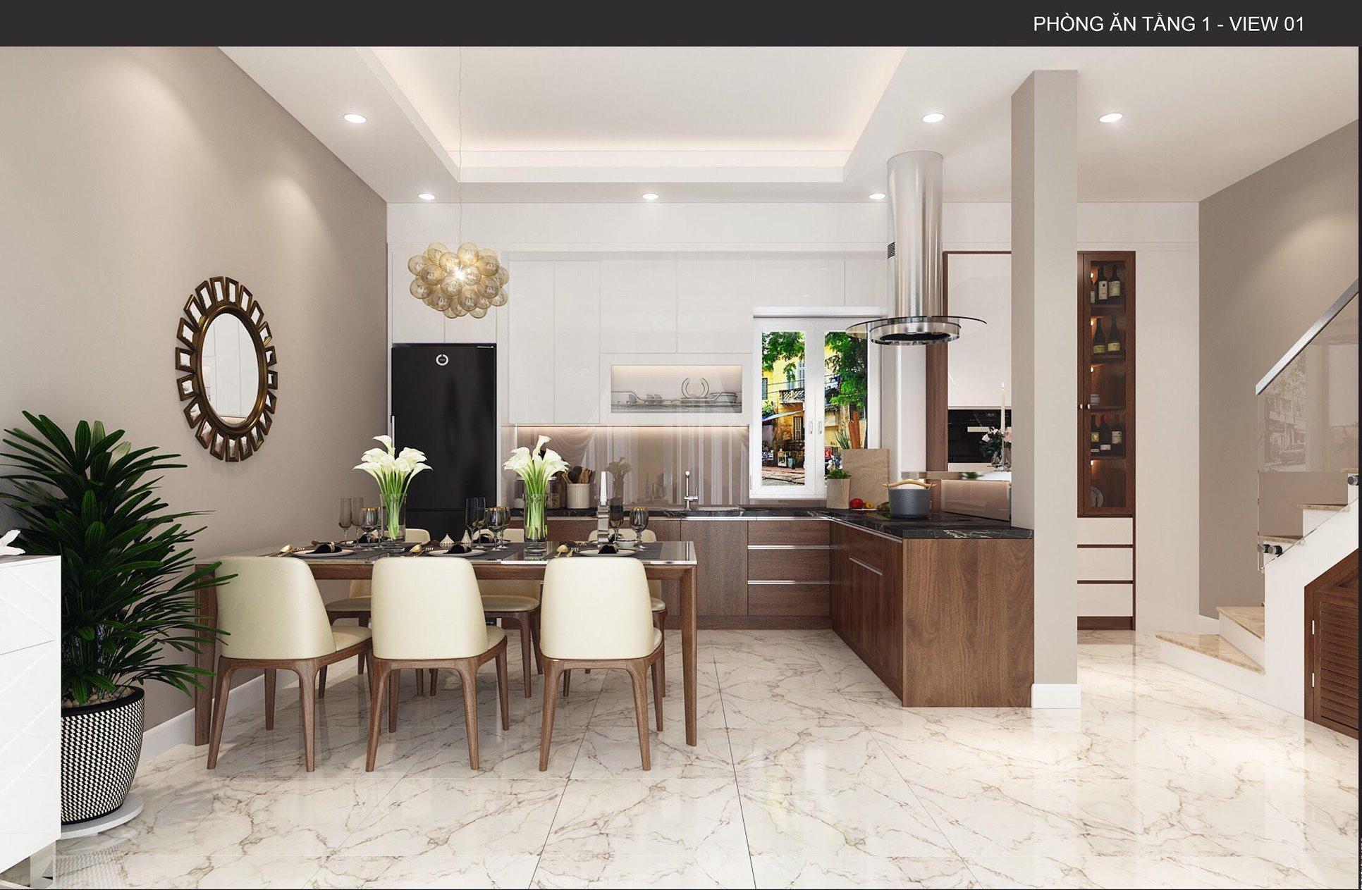 Thiết kế nội thất phòng bếp đẹp cho nhà ống, gia đình chị Thủy