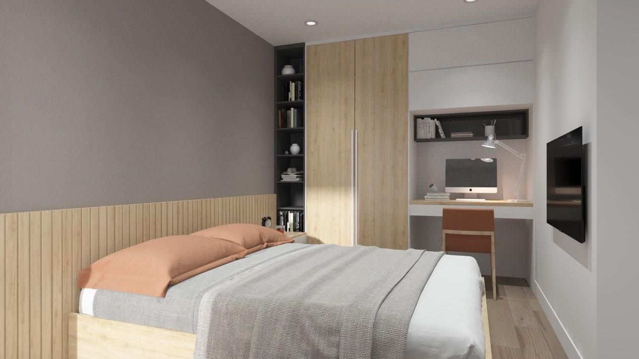 Thiết kế nội thất phòng ngủ nhà phố đẹp, sang trọng - căn hộ chị Nguyệt