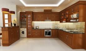 Tủ bếp gỗ gõ đỏ 08