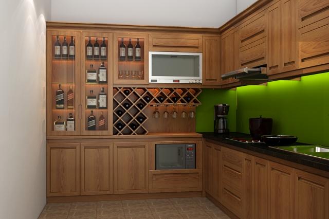 Tủ bếp gỗ sồi 04