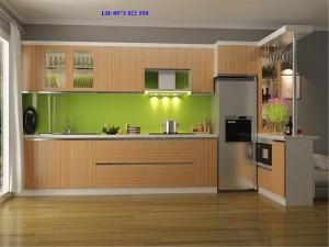 Tủ bếp  kết hợp với quầy Bar gỗ laminate 02