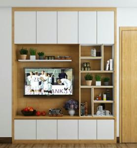 Tủ áo kết hợp kệ tivi gỗ công nghiệp sơn trắng
