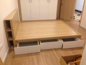 Giường gỗ công nghiệp phủ melamin 03