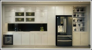 Tủ bếp kết hợp với tủ rượu