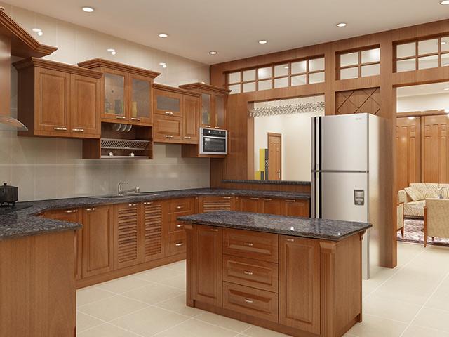 Tủ bếp gỗ gõ đỏ 02