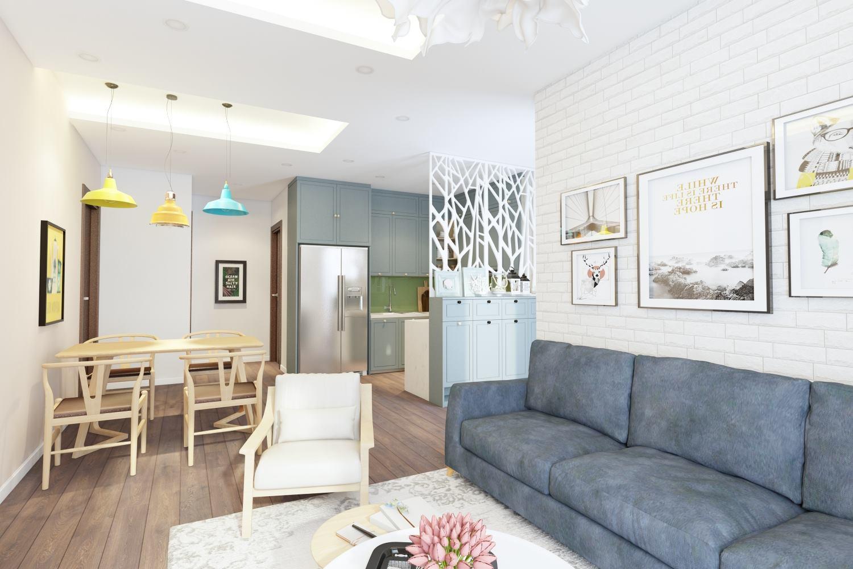 Thiết kế nội thất phòng khách chung cư sang trọng - gia đình chị Nguyệt