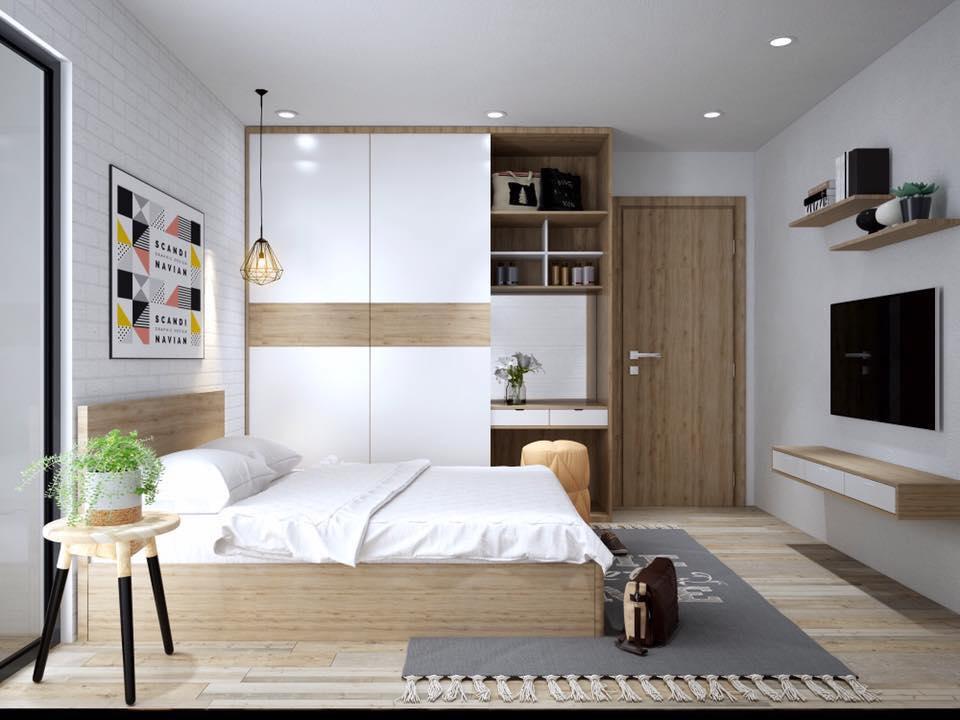 Nội thất phòng ngủ nhà ống tối giản cho cô nàng độc thân
