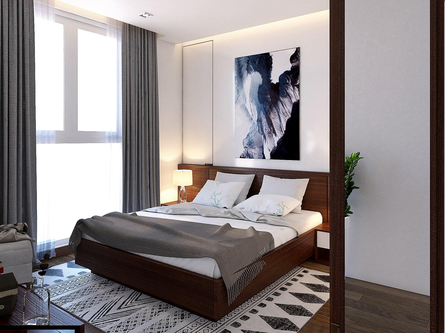 Ấn tượng thiết kế nội thất phòng ngủ nhà ống, chung cư Hoàng Mai
