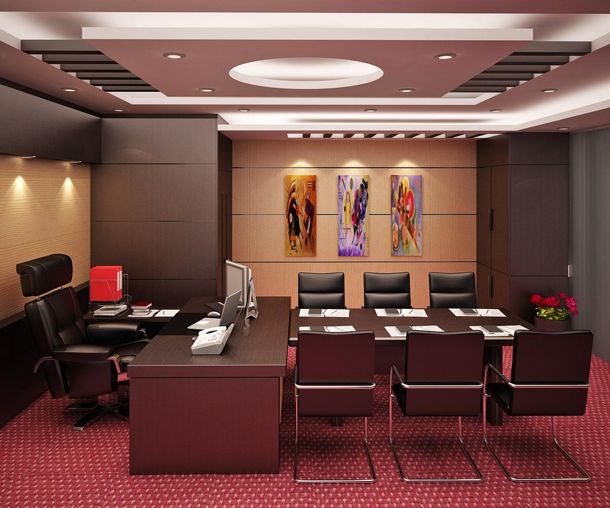 Thiết kế nội thất phòng giám đốc với phòng họp kín