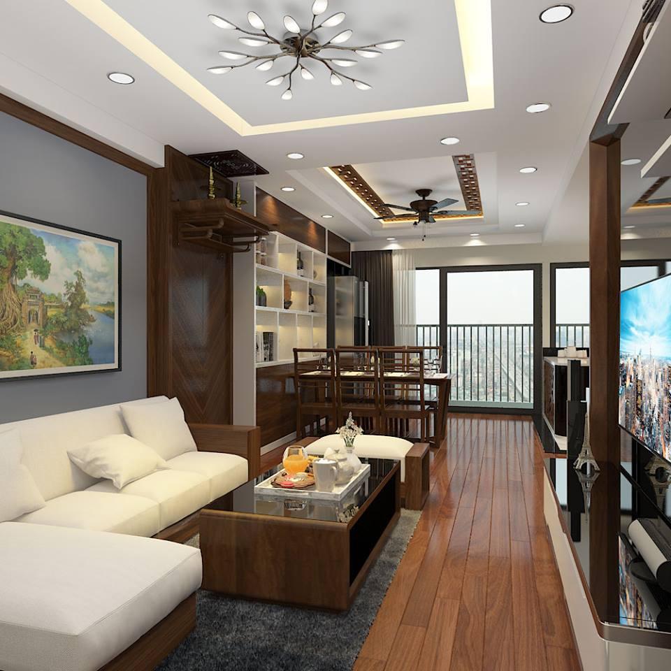 Thiết kế nội thất phòng khách hiện đại chung cư Gemek Tower