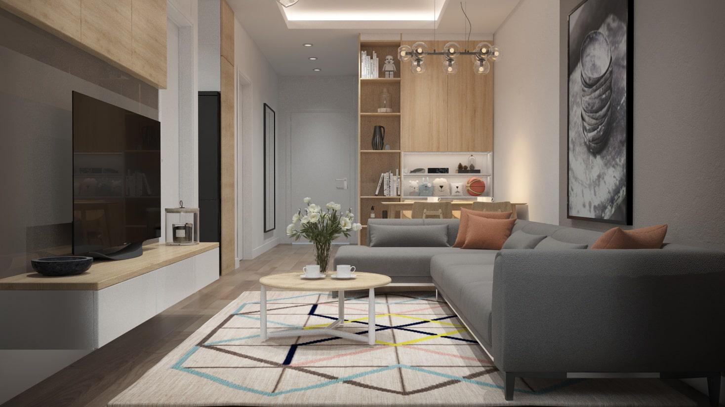 Thiết kế nội thất phòng khách nhà phố sang trọng, hiện đại