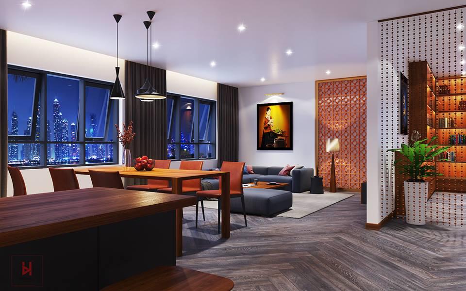 Thiết kế nội thất phòng khách căn hộ hiện đại, tối giản chi tiết