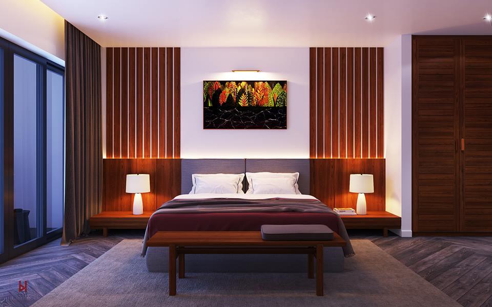 Thiết kế nội thất phòng ngủ Master, chung cư Linh Đàm