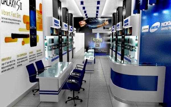 Thiết kế showroom điện thoại, máy tính đẹp, sang trọng