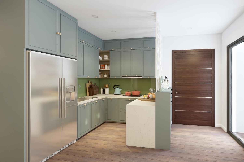 Thiết kế nội thất phòng bếp hiện đại cho nhà ống - gia đình chị Tuyết