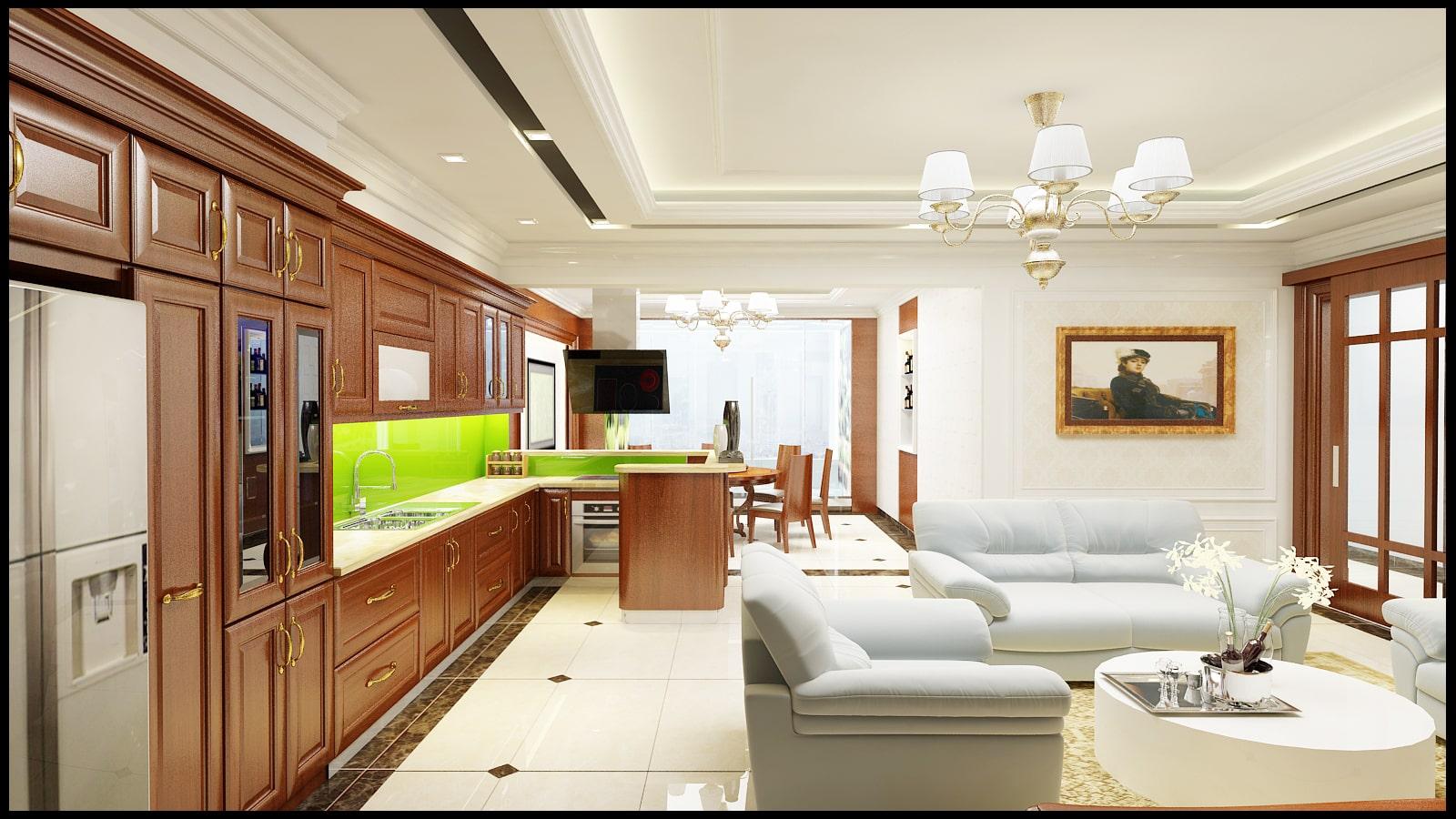 Khám phá nội thất phòng bếp sang trọng, hiện đại căn hộ chung cư - gia đình anh Quốc