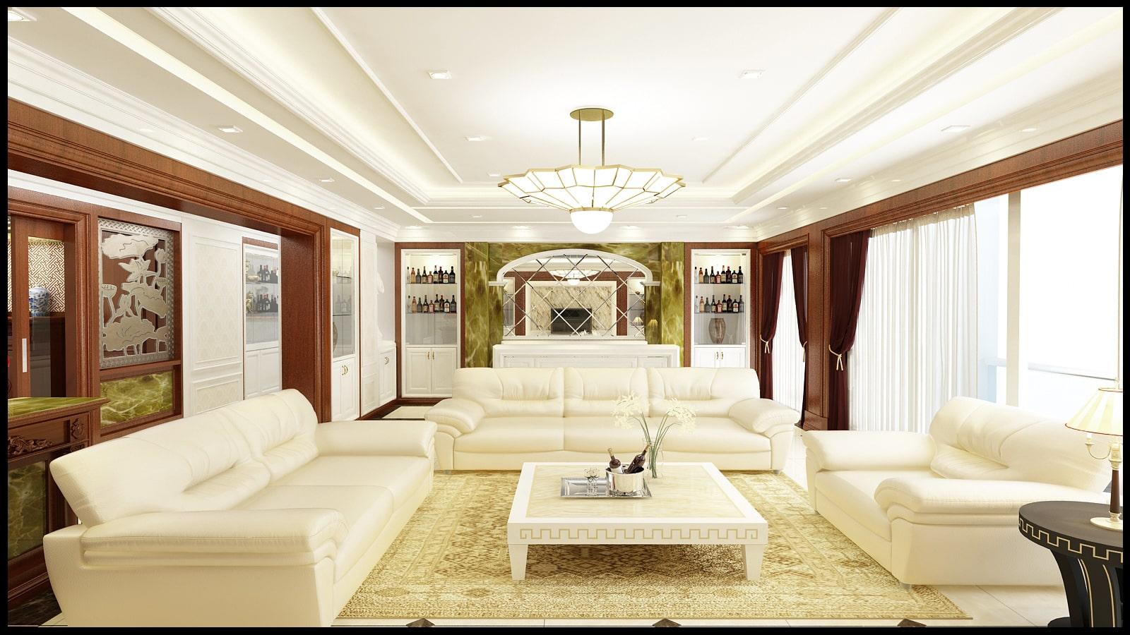 Thiết kế nội thất phòng khách tân cổ điển - gia đình anh Phong