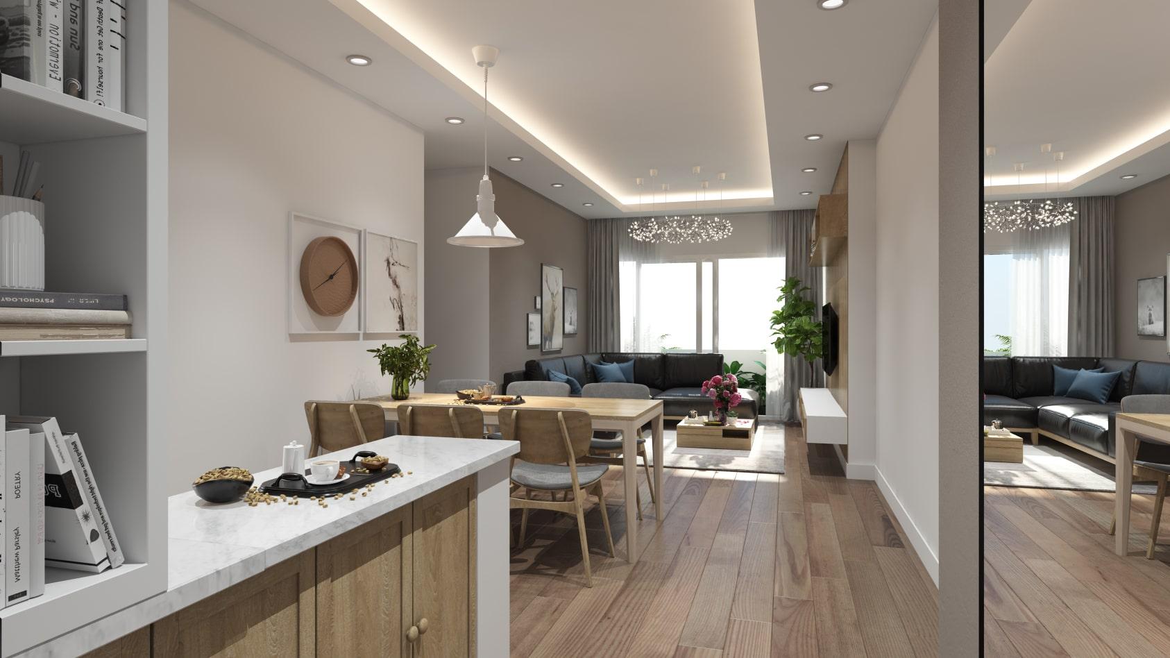 Thiết kế nội thất phòng khách không gian mở với phòng khách liền bếp