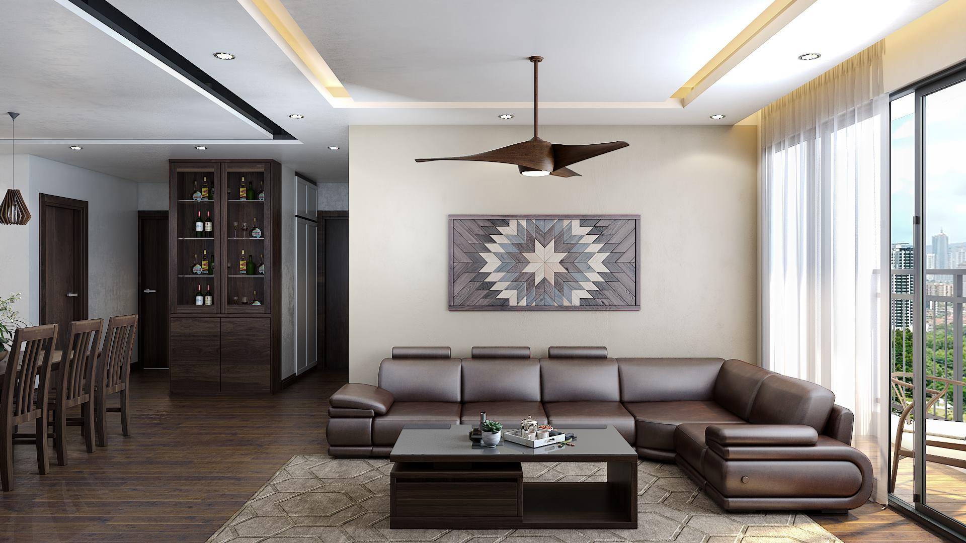 Thiết kế nội thất phòng khách chung cư cổ điển gia đình anh Nhật, Hà Đông