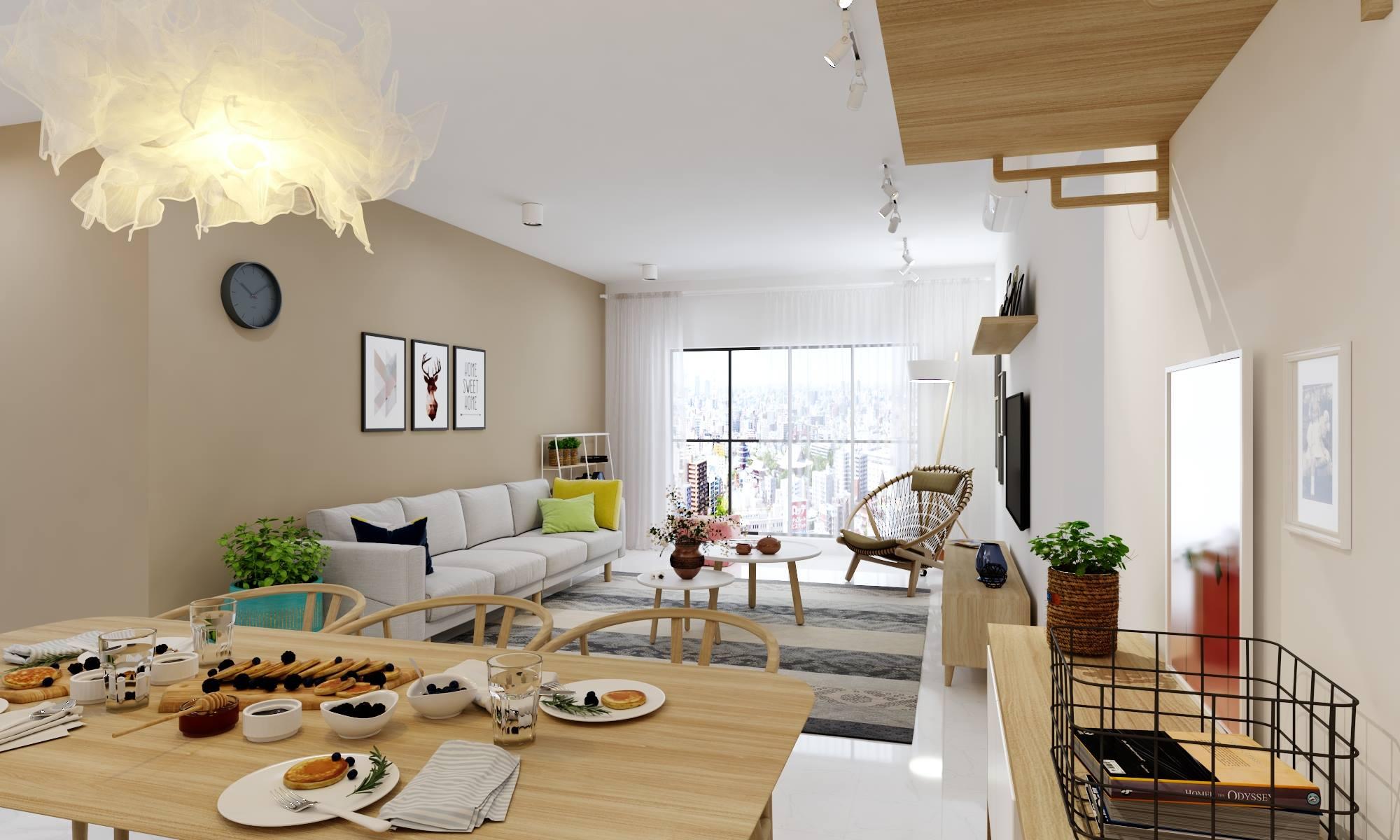 Thiết kế nội thất phòng khách chung cư ngập tràn ánh nắng - gia đình chị Lan