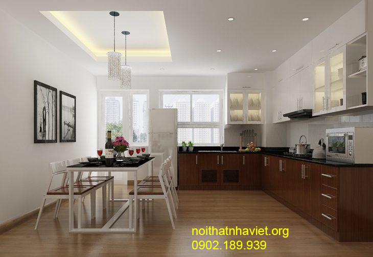 Thiết kế nội thất phòng bếp tại chung cư Goldmark City Hồ Tùng Mậu