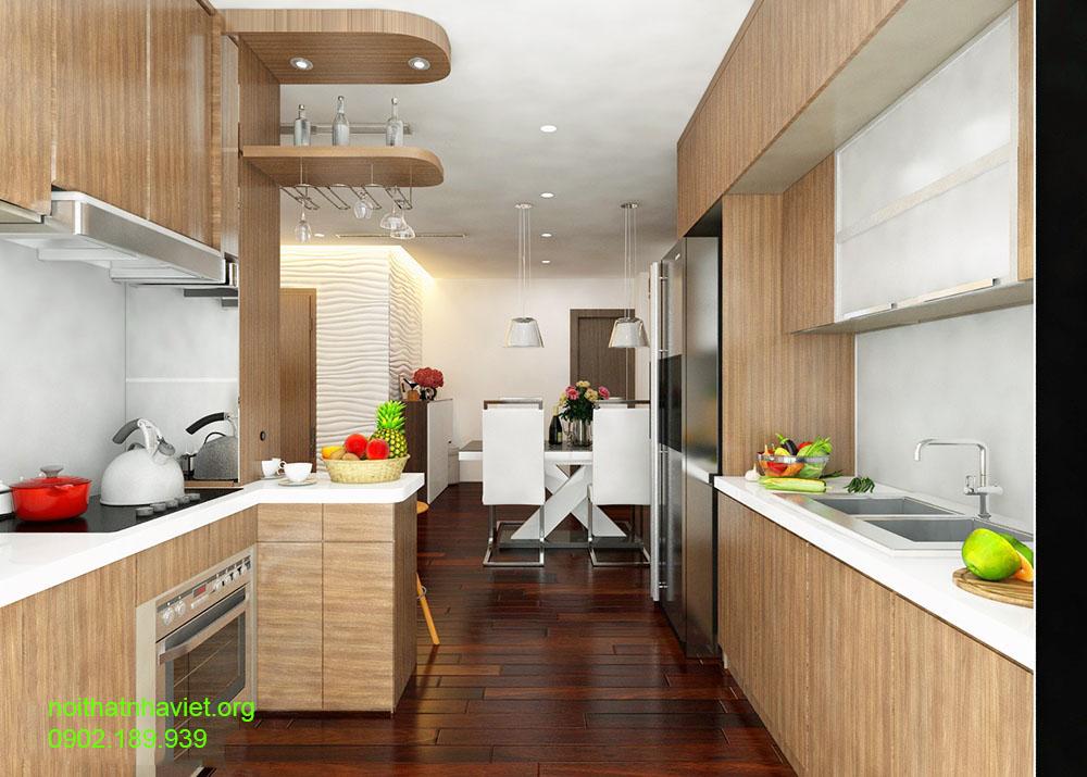 Thiết kế nội thất phòng bếp chung cư Gemek  An Khánh