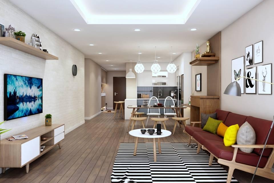 Mẫu thiết kế nội thất phòng bếp liền phòng khách - Căn hộ gia đình anh Bình