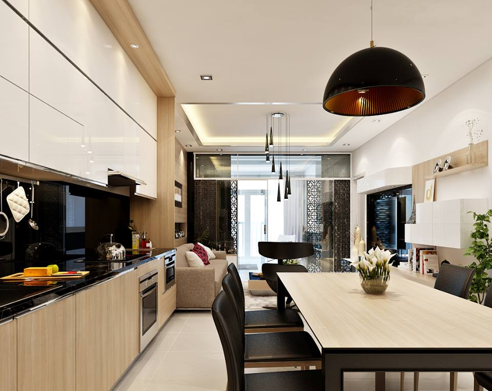 Nội thất phòng bếp sang trọng cho chung cư cao cấp, gia đình chị Quyên