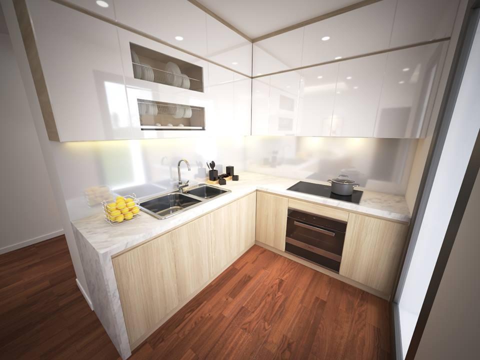 Thiết kế nội thất phòng bếp sang trọng cho chung cư cao cấp - gia đình chị Hương