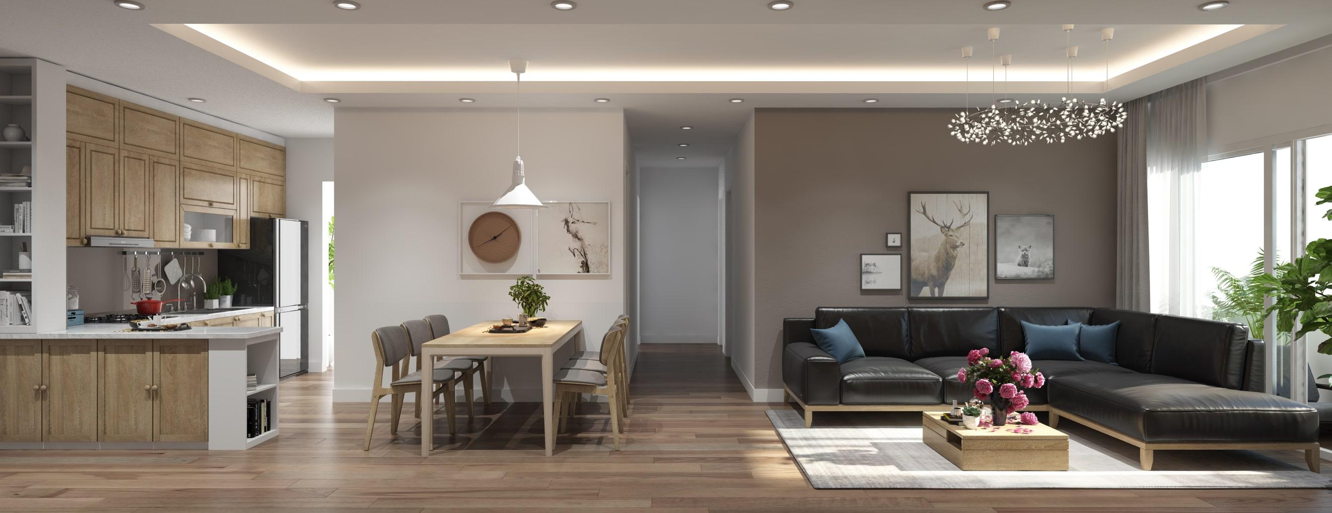 Thiết kế phòng bếp liền phòng khách căn hộ chung cư gia đình chị Lan